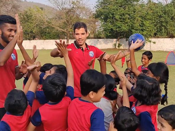 Our boys, Pablo Morgado, Farukh Choudhary, and Augustin, spent a day at our RVS Academy Football School
